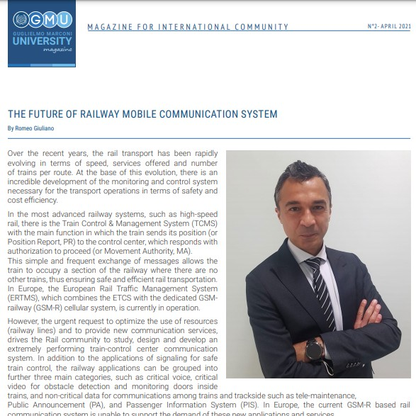 """""""The future of railway mobile communication system"""" editorial on GMU Magazine"""